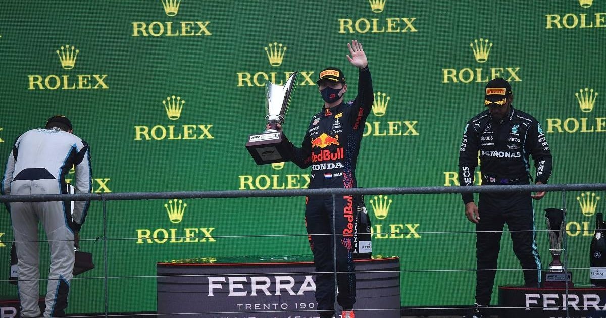 Max Verstappen waves from the Belgian GP podium. Spa-Francorchamps August 2021.
