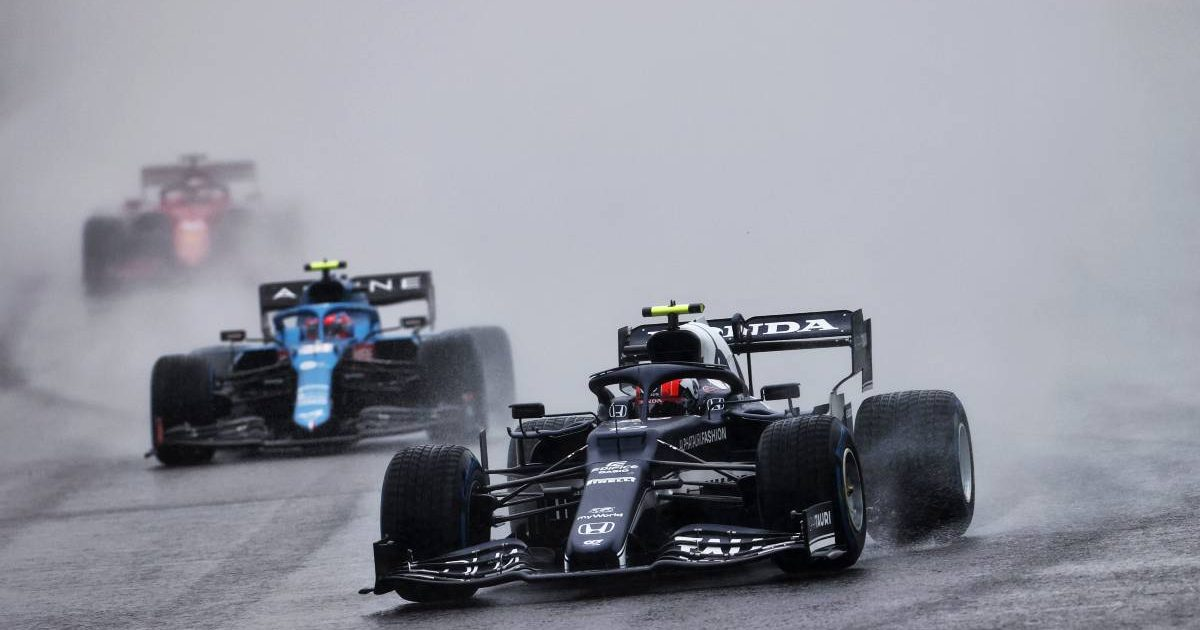 Pierre Gasly in the wet at the Belgian GP. Spa-Francorchamps August 2021.
