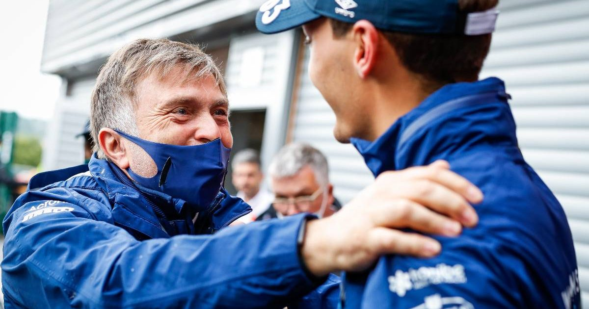 Jost Capito embraces George Russell after Belgian GP qualifying. Spa-Francorchamps August 2021.