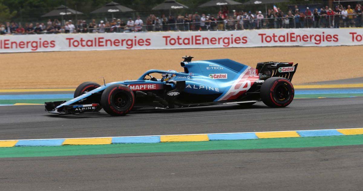 Fernando Alonso runs a Formula 1 car around Le Mans