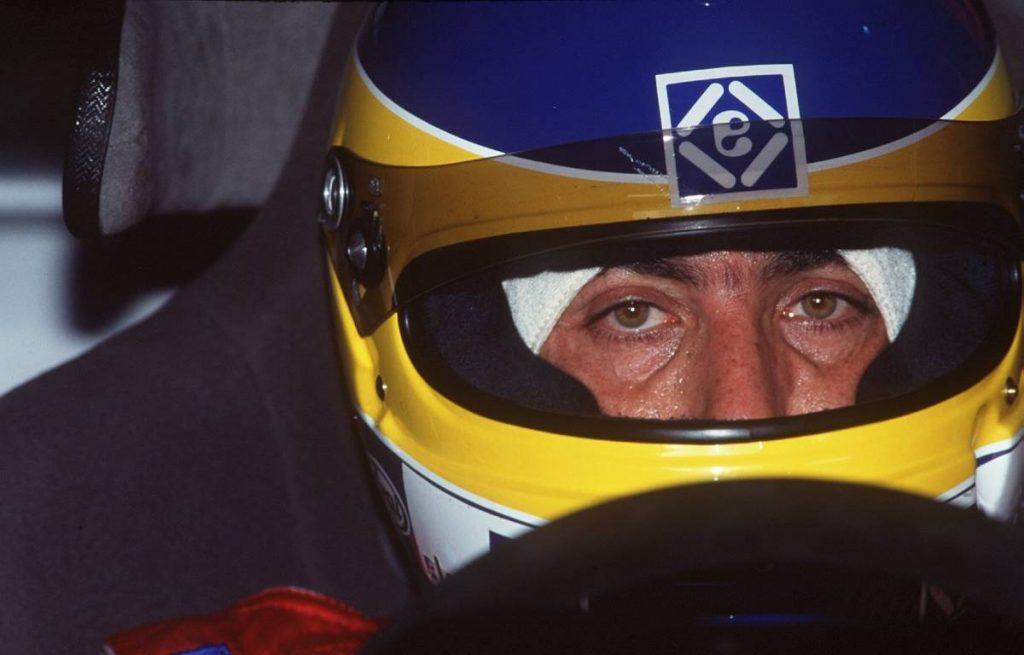 Michele Alboreto in crash helmet at a touring car event. Magny-Cours 1995.