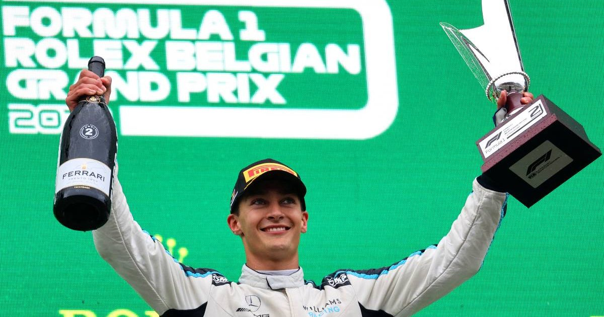 George Russell on the podium after finishing second in the Belgian GP. Spa-Francorchamps August 2021.