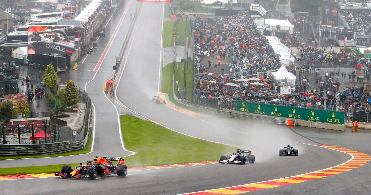 Max Verstappen leads at Eau Rouge during the Belgian GP under Safety Car conditions. Spa-Francorchamps August 2021.