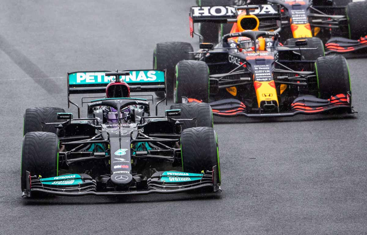 Mercedes of Lewis Hamilton and Red Bull of Max Verstappen start the Hungarian GP 2021.