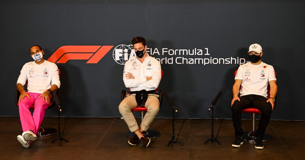 Lewis Hamilton, Toto Wolff and Valtteri Bottas speak to the media. Italy October 2020