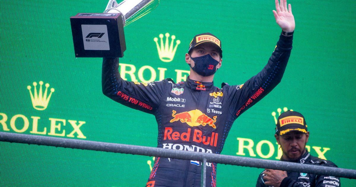 Max Verstappen on the podium. Belgium August 2021