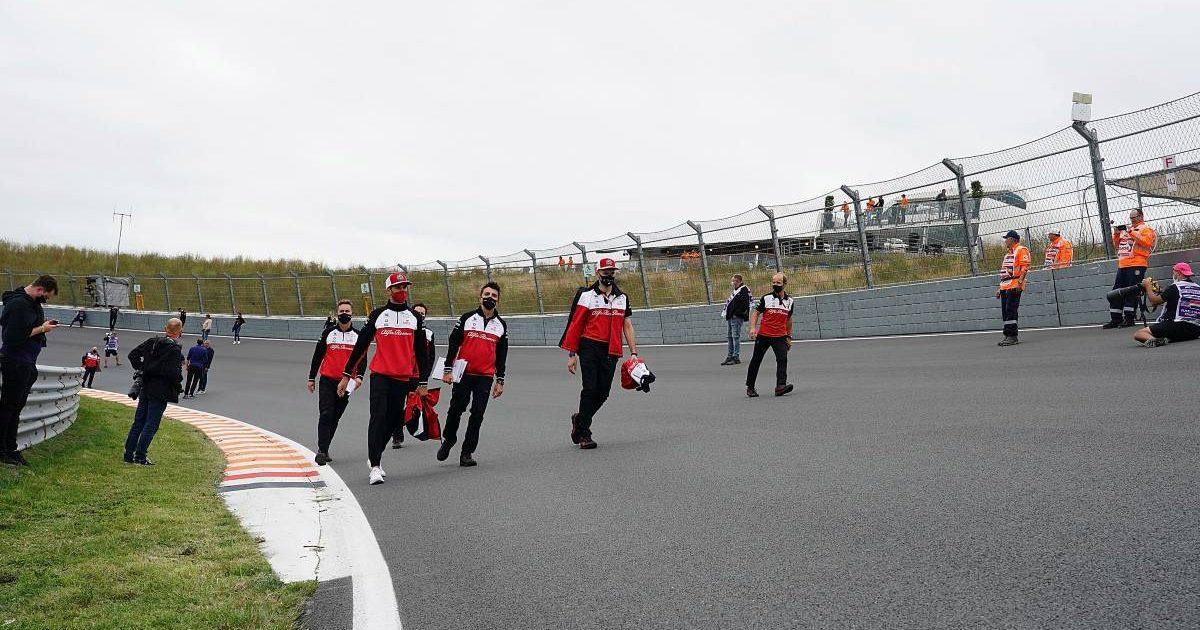 Alfa Romeo walking through Arie Luyenduk corner at Circuit Zandvoort. Netherlands, September 2021.