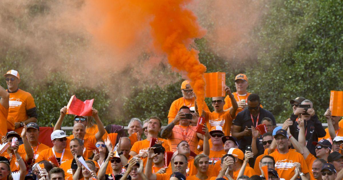 Dutch fans with flares. Belgium August 2018