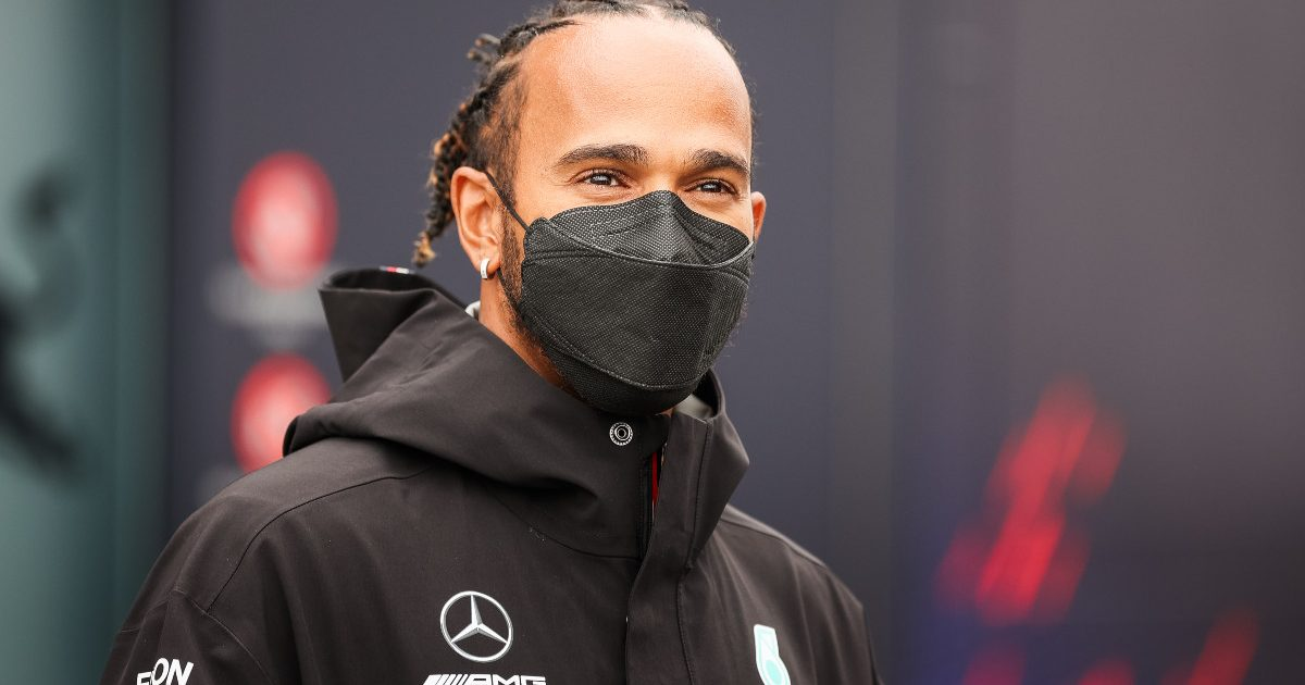 Lewis Hamilton smiling during an interview at the Dutch GP. September 2021.