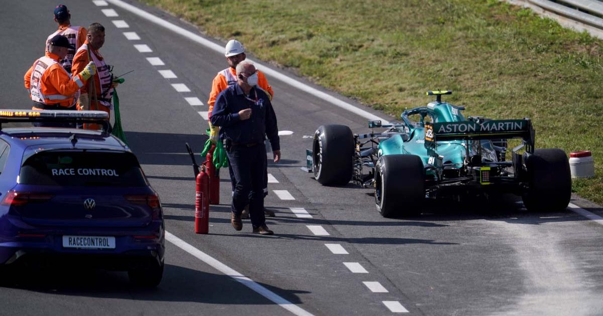 Sebastian Vettel's Aston Martin breaks down at Dutch GP.