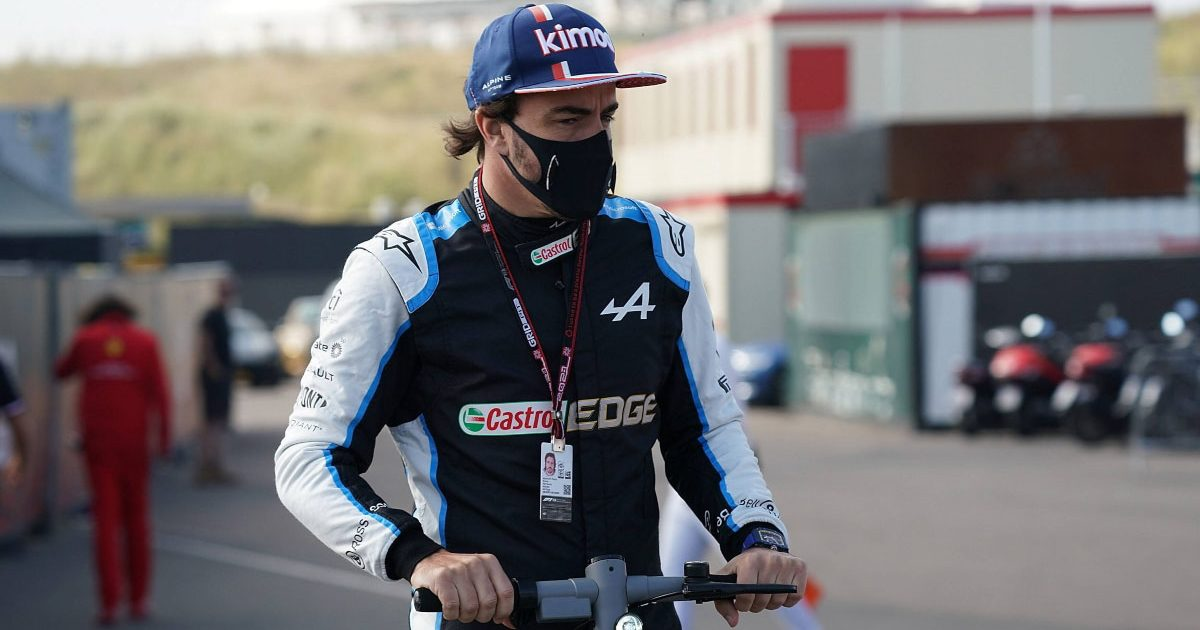 Fernando Alonso in the paddock at the 2021 Dutch GP.