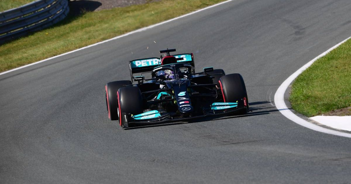 Lewis Hamilton [Mercedes] in action in Friday practice at the Dutch GP. September 2021.
