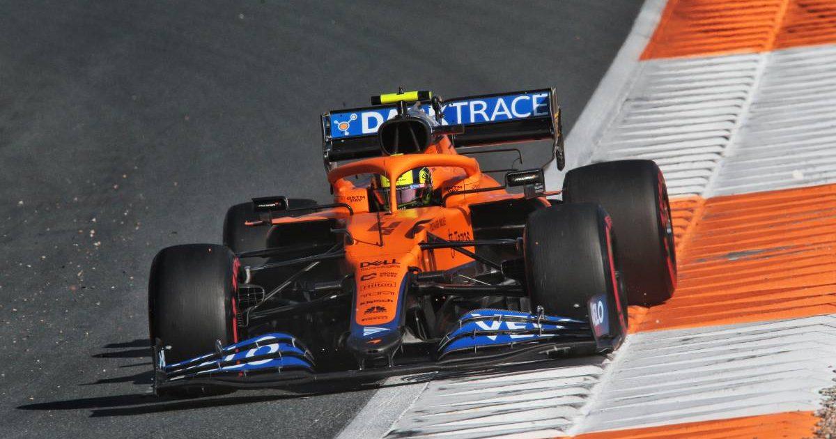 Lando Norris, McLaren, during Friday practice at the Dutch GP. September 2021.