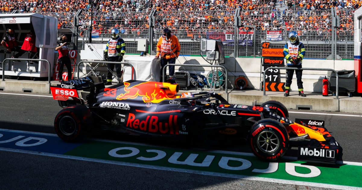 Max Verstappen leaves the pit lane. Netherlands September 2021