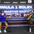 Fernando Alonso and Sebastian Vettel in their press conference for the Hungarian GP. Hungaroring August 2021.