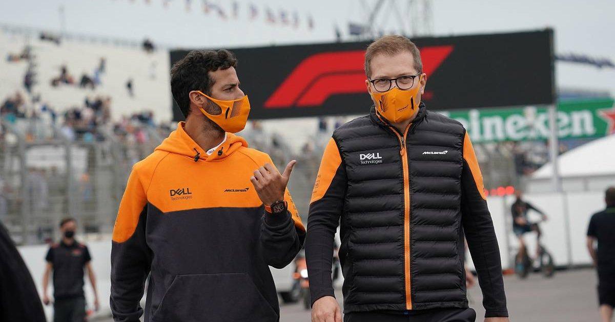 Daniel Ricciardo walking with Andreas Seidl at the Dutch GP. Zandvoort September 2021.