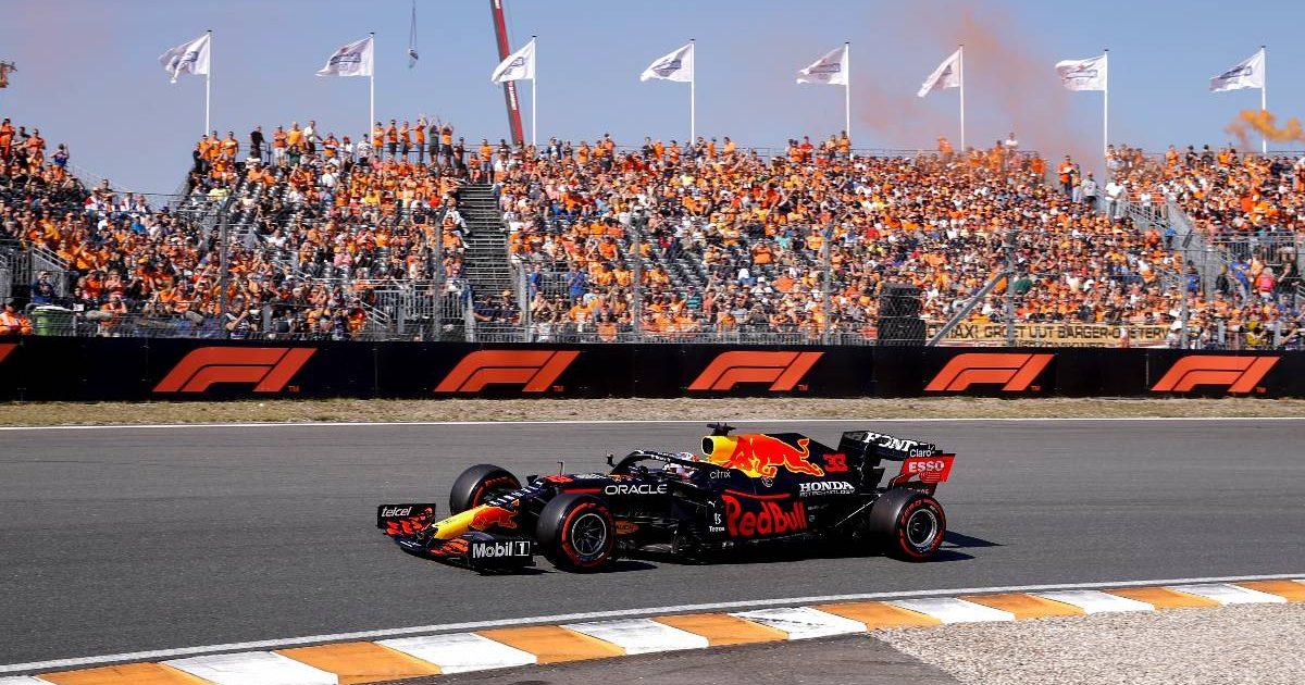 Max Verstappen, Red Bull, passes the Dutch fans. September 2021.