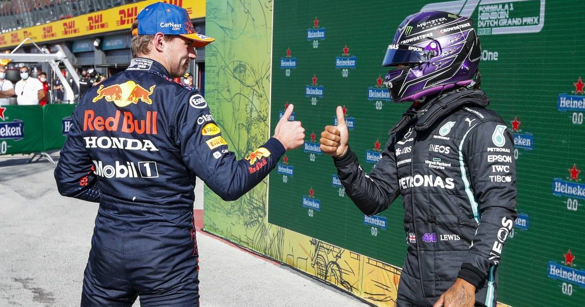 Max Verstappen and Lewis Hamilton thumbs up after Dutch GP qualifying. Zandvoort September 2021.