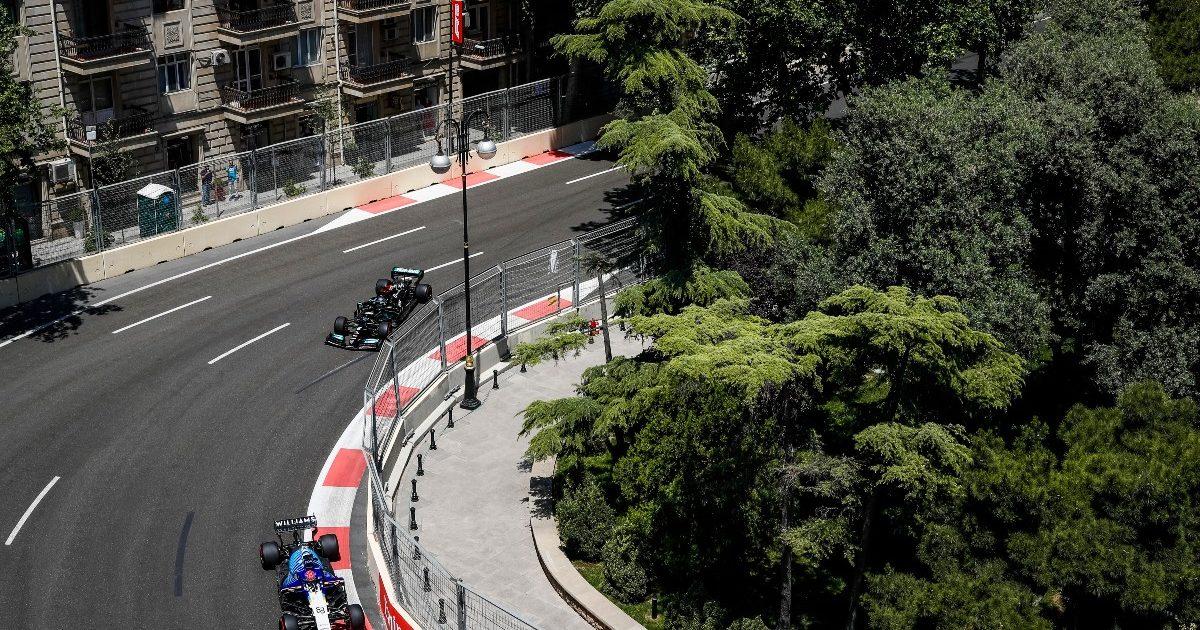 Lewis Hamilton and George Russell race. Azerbaijan June 2021