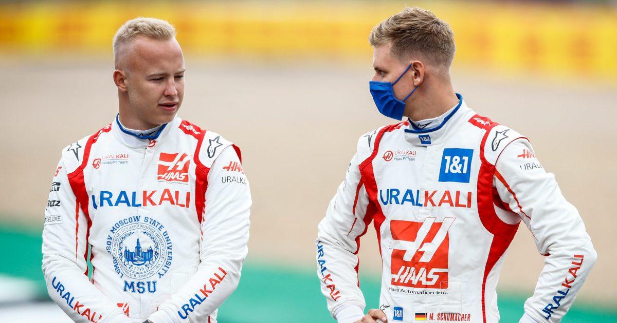 Nikita Mazepin and Mick Schumacher. Silverstone July 2021