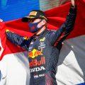 Max Verstappen holding a Dutch flag in celebration. Netherlands September 2021