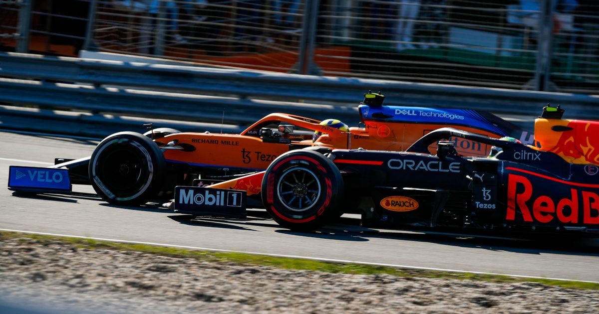 Lando Norris against Sergio Perez. Netherlands September 2021.