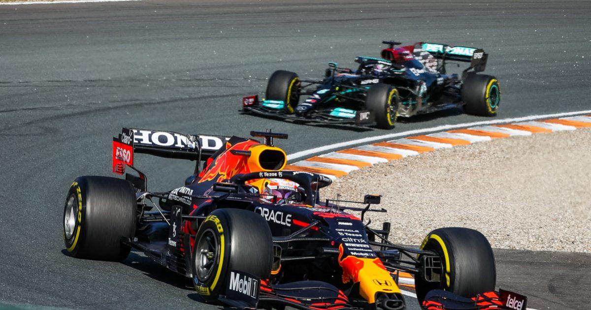 Max Verstappen leads Lewis Hamilton. Netherlands September 2021.