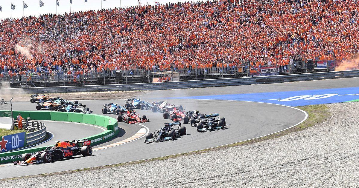 Max Verstappen leads race start. Netherlands September 2021.