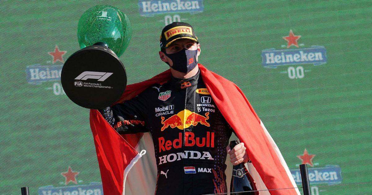 Max Verstappen on the podium . Netherlands September 2021.