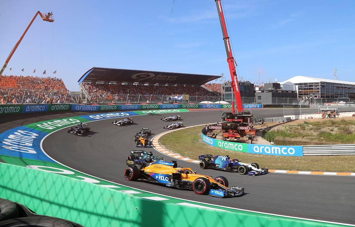 Daniel Ricciardo around the outside at the Dutch GP start. September 2021.