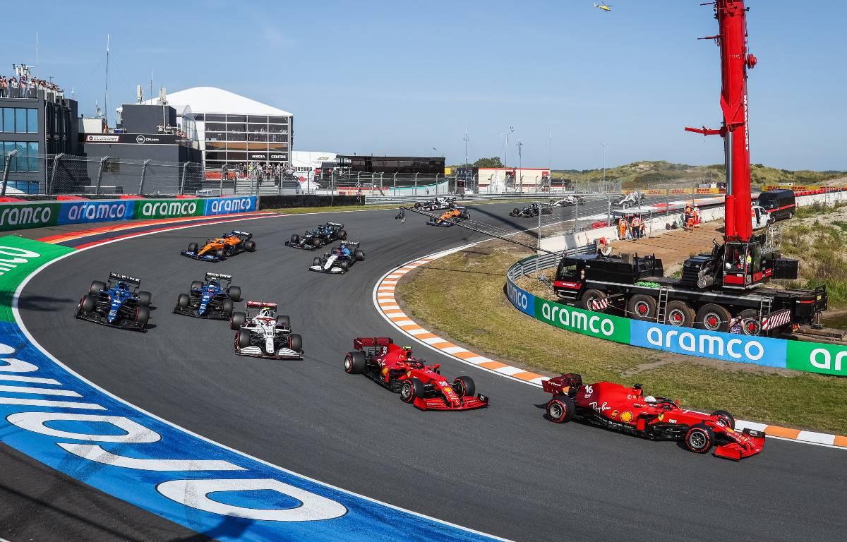 Carlos Sainz and Charles Leclerc, Ferrari, at the Dutch GP start. September 2021.