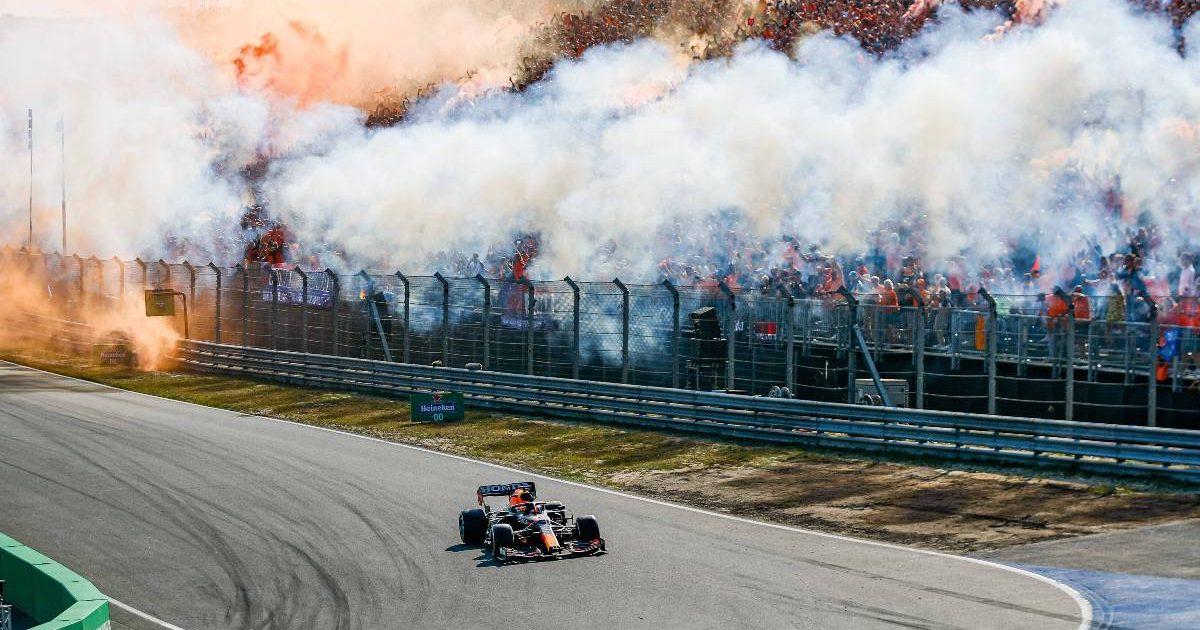 Dutch GP winner Max Verstappen passes the celebrating fans. September 2021.