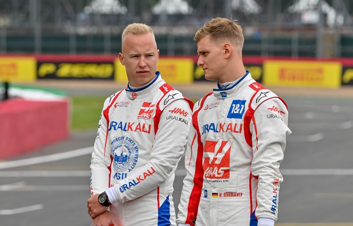 Nikita Mazepin and Mick Schumacher in conversation. Silverstone July 2021