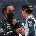 Lewis Hamilton and George Russell on the podium at Spa.