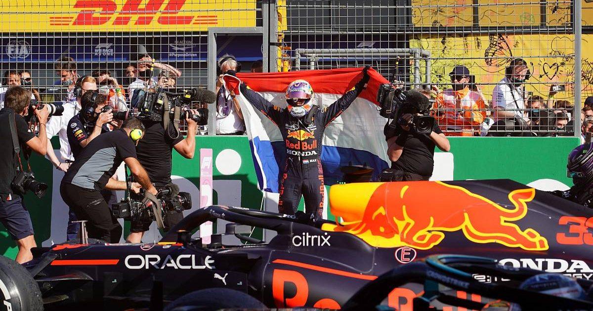 Max Verstappen celebrates his Dutch GP win. Zandvoort September 2021.