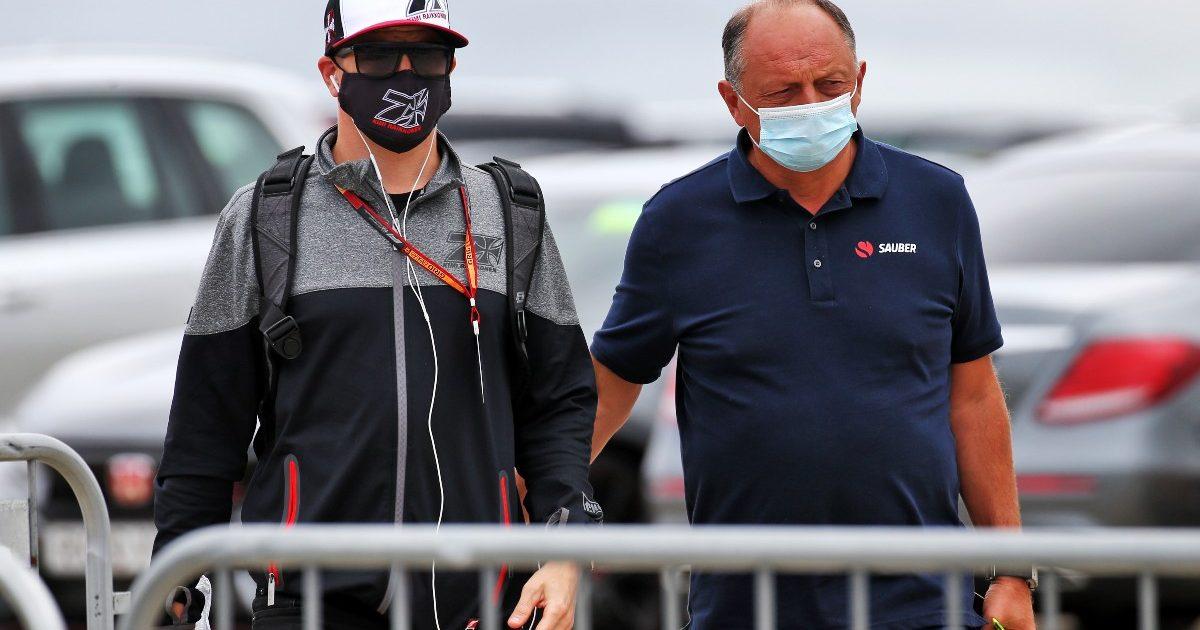 Kimi Raikkonen and Frederic Vasseur in conversation at Silverstone. Great Britain August 2021