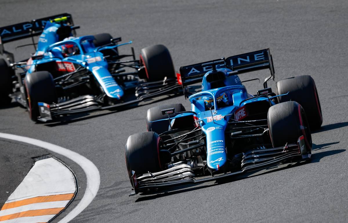Fernando Alonso and Esteban Ocon, Alpine, battle at the Dutch GP. September 2021.