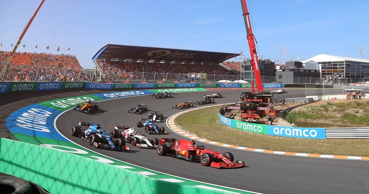 Cars take a banked turn during the Dutch Grand Prix. Zandvoort September 2021.