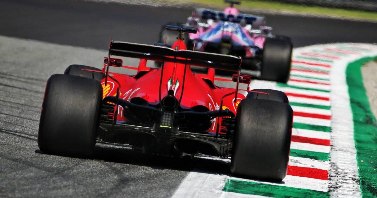 Ferrari follows a Racing Point during the Italian GP weekend. Monza September 2020.