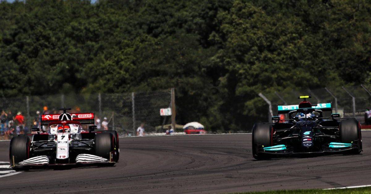 Alfa Romeo alongside Mercedes during the British GP weekend. Silverstone July 2021.