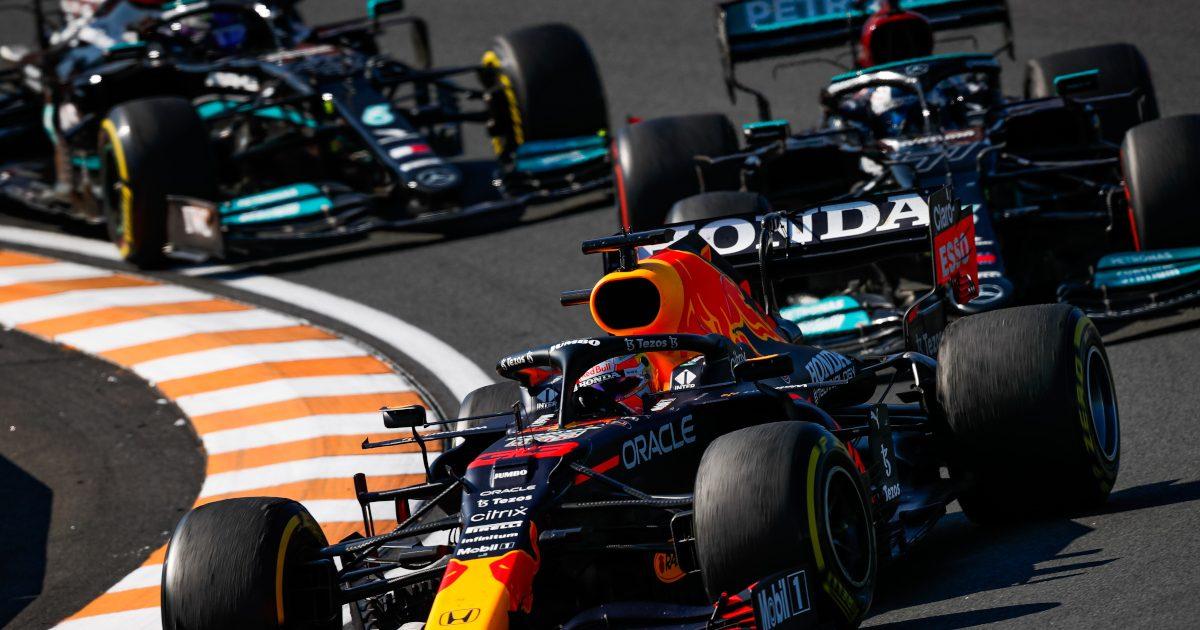 Max Verstappen leads Mercedes. Netherlands September 2021.