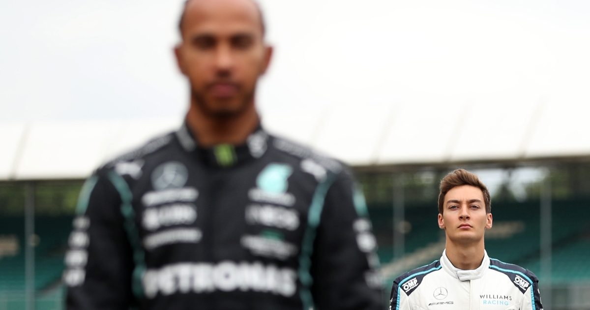 George Russell and Lewis Hamilton on the grid at Silverstone. Great Britain July 2021