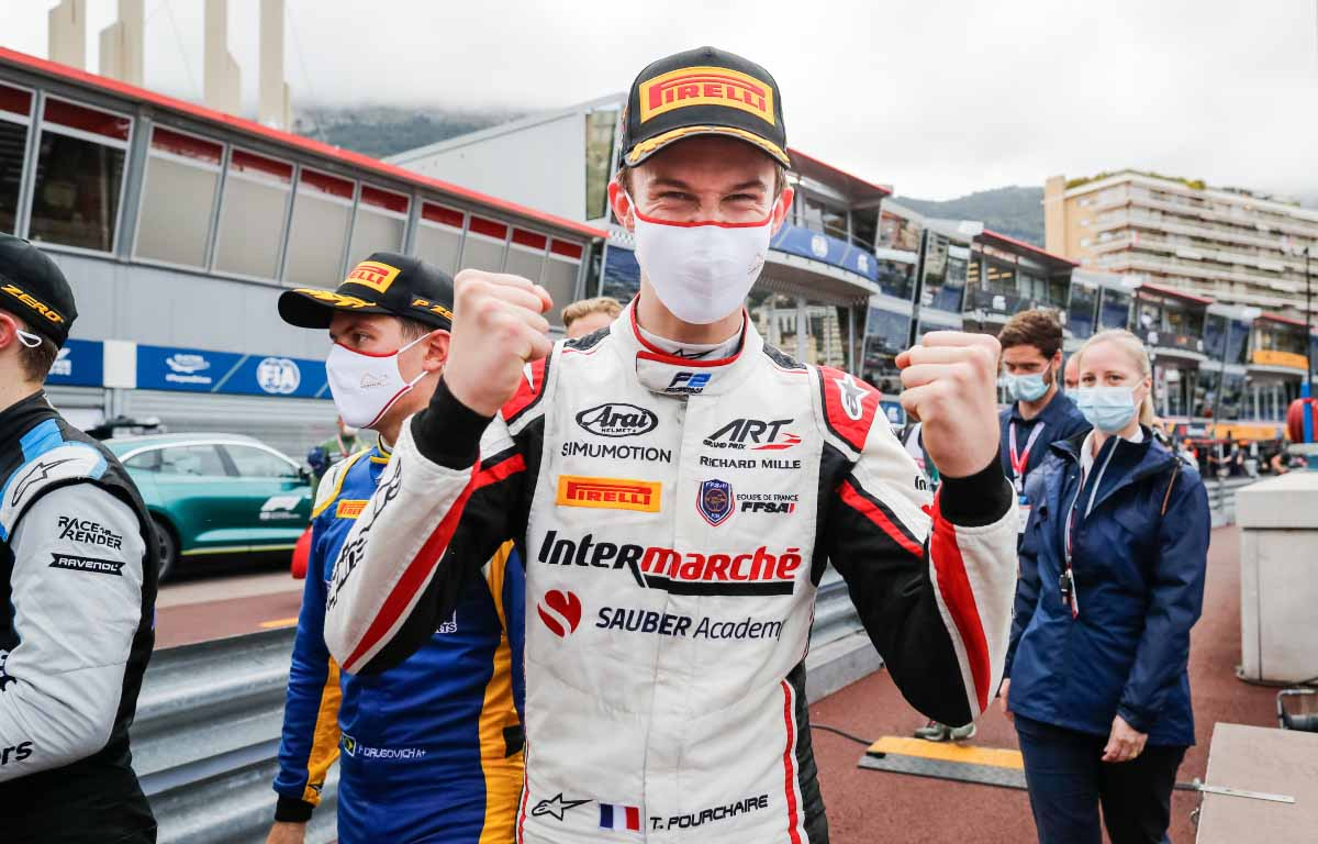 Theo Pourchaire celebrates victory in Monaco. May 2021.