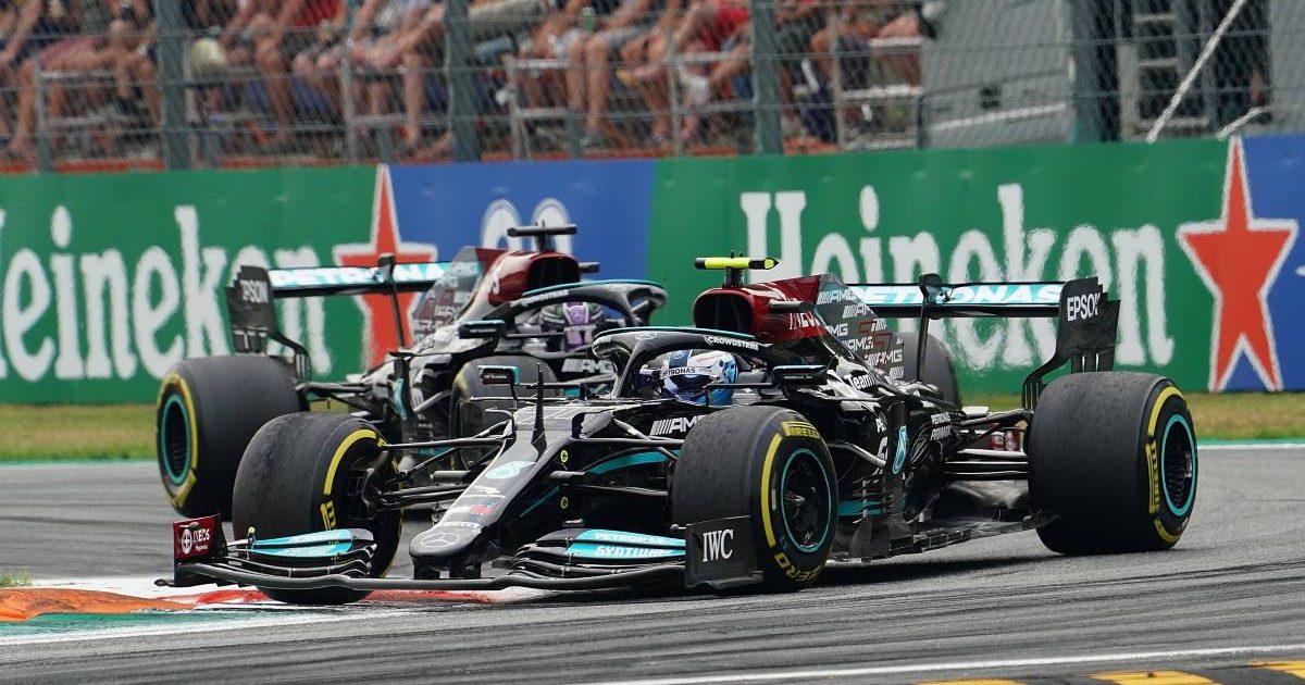 Lewis Hamilton follows Mercedes team-mate Valtteri Bottas. Italy, September 2021.
