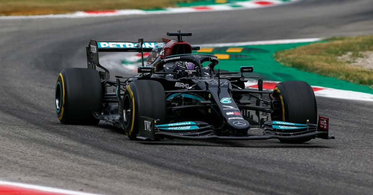 Mercedes' Lewis Hamilton in action at Monza. Italy, September 2021.
