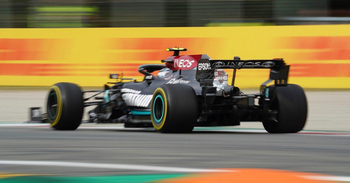 Rear-view shot of Mercedes' Valtteri Bottas at Italian GP. September 2021.