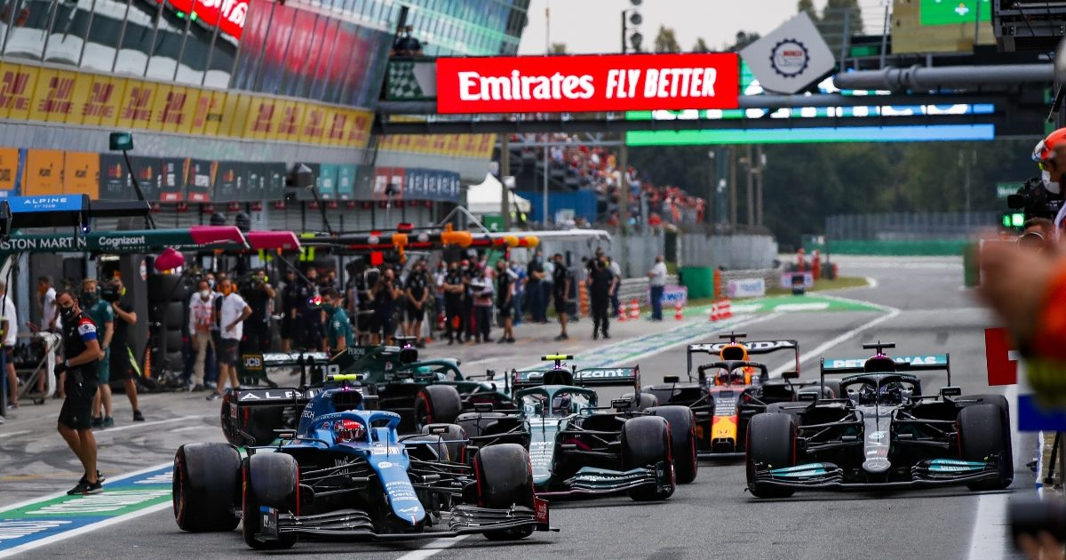 A traffic jam forms in the Monza pit-lane. Italy September 2021