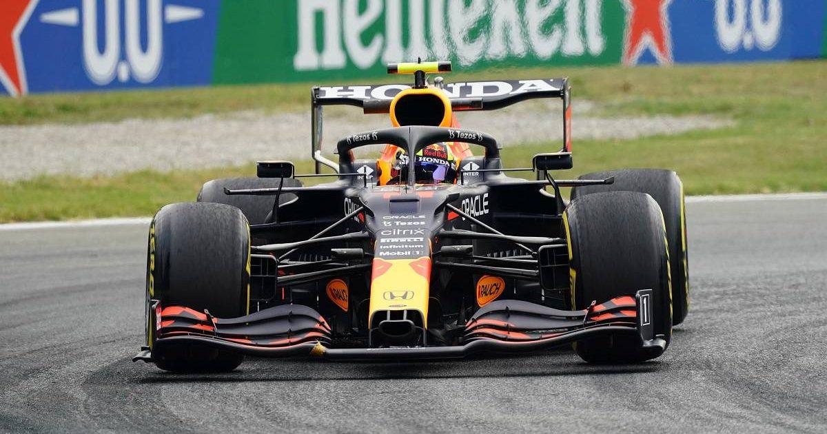 Sergio Perez, Red Bull, in Italian GP action on Friday. September 2021.