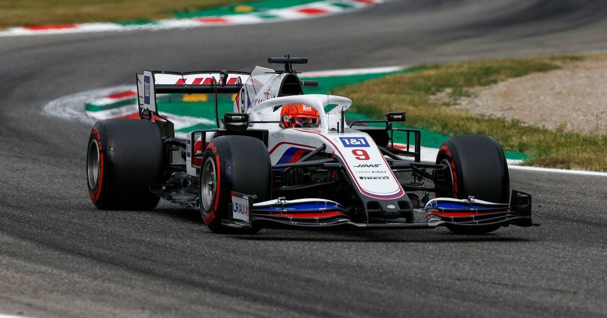 Haas' Nikita Mazepin in action on Friday at the Italian GP. September 2021.