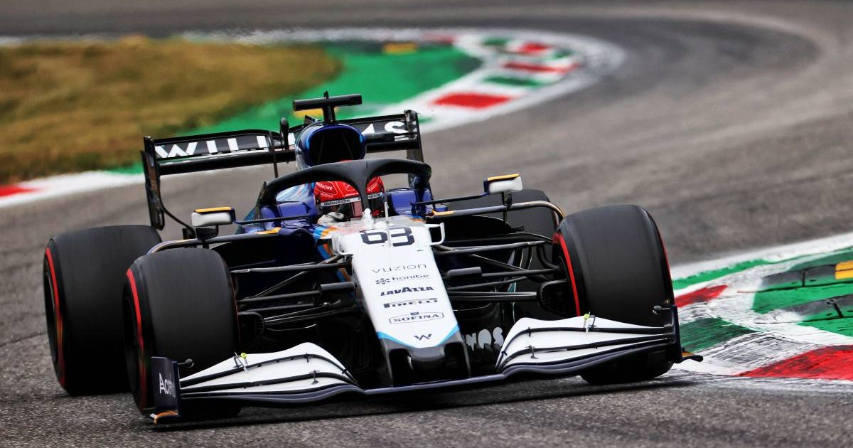 George Russell, Williams, in action at Monza. Italy, September 2021.
